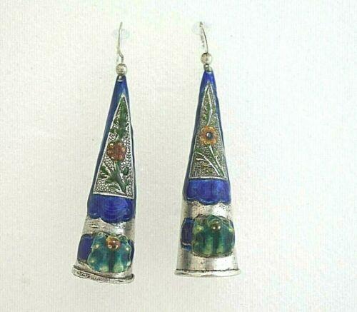 Antique Chinese Silver Enamel Finger Nail Guard Cloisonne Earrings Frog Flowers
