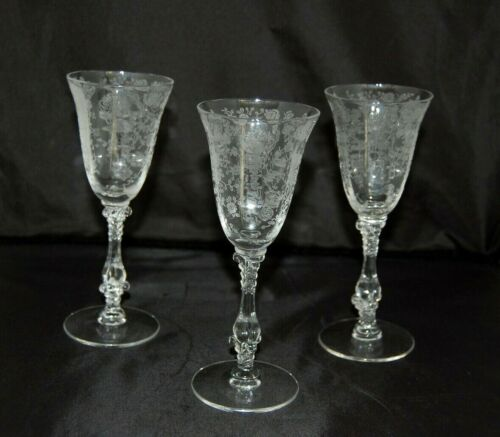 """CAMBRIDGE ROSEPOINT SHERRY STEMS - A SET OF  3 - 5 7/8"""" tall"""