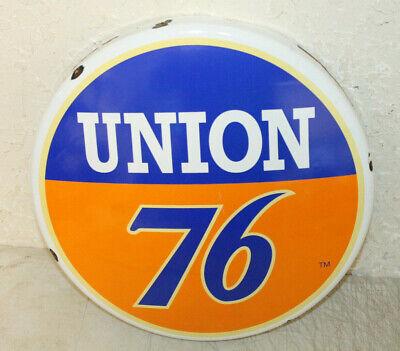 Union 76 Vintage Style Porcelain Signs Button Gas Pump Man Cave Station 2 Tone