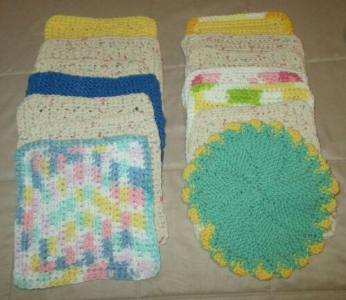 Lot Of 7 Hand Crochet Dishcloths Dish Rags Washcloths 100% Cotton mixed lot