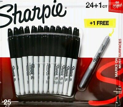 New Sharpie Original Permanent Markers Black Silver Water-resistant 25 Count