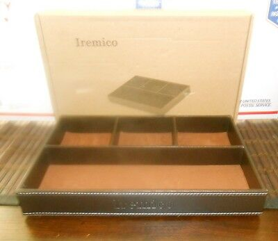 Iremico Drawer Organizers 4 Compartments Leatherette Valet Tray Desk Or Dresser