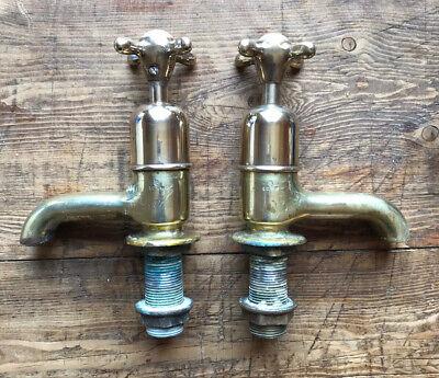 Vintage Brass Bath Taps Original Large Size  Period Antique