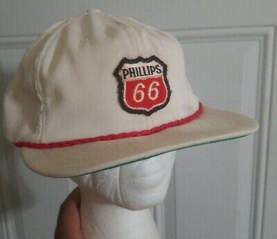 Vtg. Blue Phillips 66 Baseball Cap Hat K-Brand Made in USA Leather Adjust Strap