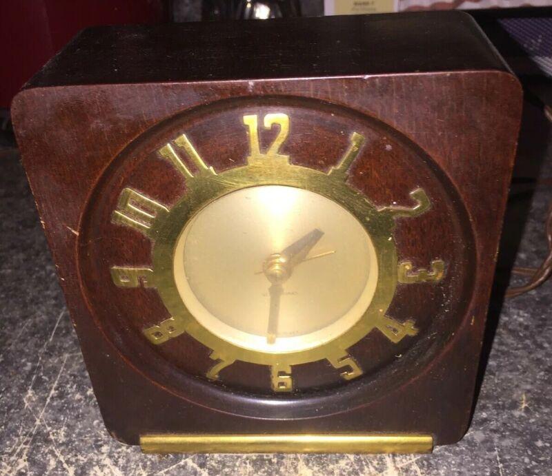 Vintage Mid Century Modern Seth Thomas Wood Table Or Desk Clock Works