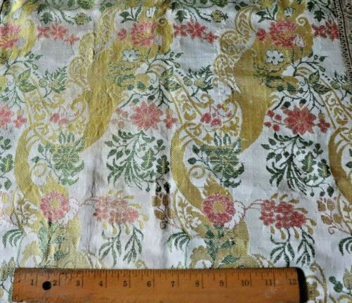 Antique 18thC French Or Italian Silk  Ecclesiastical Fabric~Metallic Trim