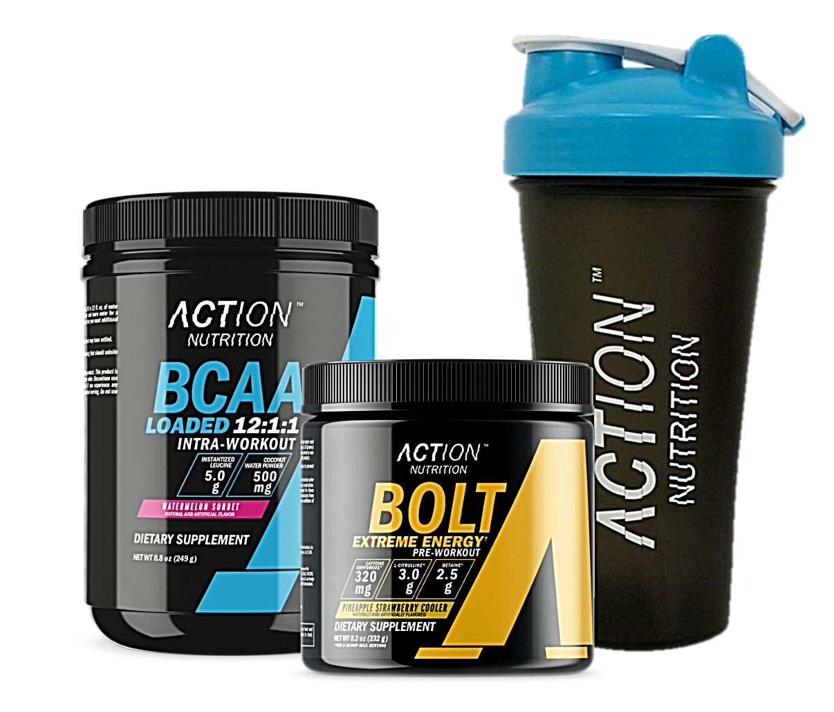 Action Packed Workout Bundle - BOLT, BCAA Loaded, and a FREE Shaker Cup!