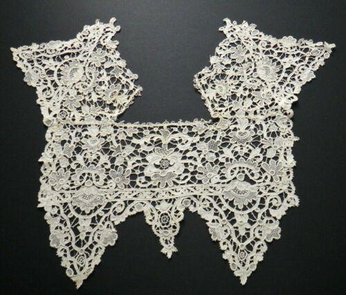 Gros Point de Venise Needle Lace Dress Insert, Antique 19th c.  Fine Handwork