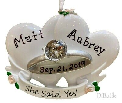 NAME PERSONALIZED 2019 Wedding Ring SHE SAID YES Engagement Christmas Ornament