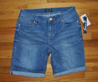 NWT Womens SEVEN 7 Tyler Medium Wash Blue Bermuda Denim Shorts Sz 10