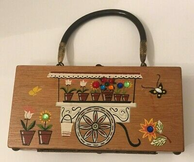 Vintage 1960's small Gary Gails painted box purse flower cart Enid Collins style, used for sale  Shipping to Canada