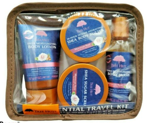 Tree Hut Essential Travel Kit Moroccan Rose Nourishing 4 Product Pack with Bag