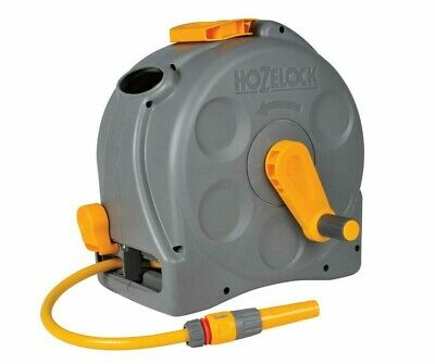 Hozelock Wall Mounted 2-in-1 with 25m Compact Reel Hose Garden Water Pipe New
