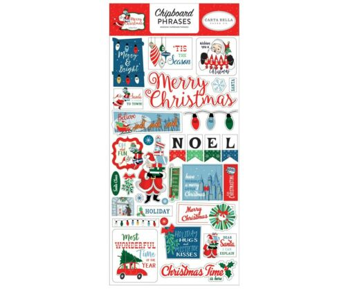 Carta Bella Paper MERRY CHRISTMAS 6x13 Sheet of Chipboard Phrases