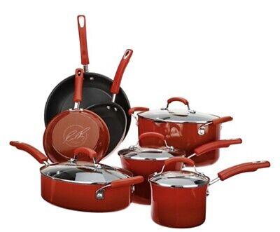Rachel Ray Gradient Porcelain Enamel Nonstick 11 Pc Cookware Chilli Red Pot Pan Non Stick Porcelain Sauce Pan