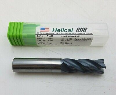 Helical 31527 Carbide End Mill 12 X 1-14 Aplus Coated Hsv-r-405000-r.030 Nos