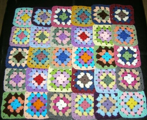 "30 Crochet Granny Squares Blocks for Afghan 4.5"" Inches ~ Multicolored"