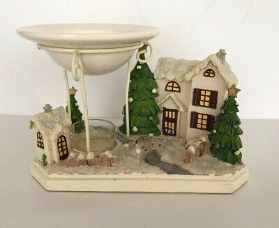 Vintage Yankee Candle Christmas Village Tea light Wax Tart Warmer Burner