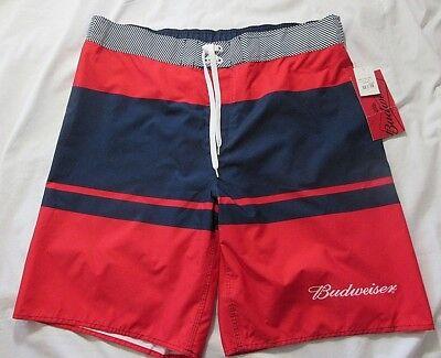 93198b009e210 BUDWEISER Board Shorts Mens 38 RED BLUE Swimwear Board Shorts Spellout Logo  NWT