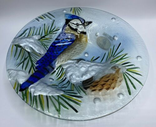 Beautiful Fused Glass Bird Bowl By TII Collections Food Safe Approx. 13 In diam.