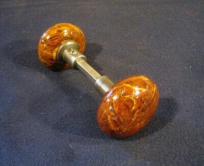 Antique Victorian Doorknob Hardware Vintage SPECKLED Brown Porcelain Mineral Door Knob for Rim Lock