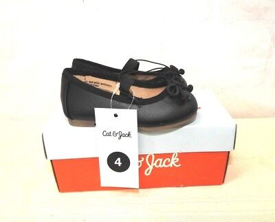Cat & Jack Black Ballet Flats Girls Toddler Shoes Size 4 New In Box - Toddler Black Ballet Flats