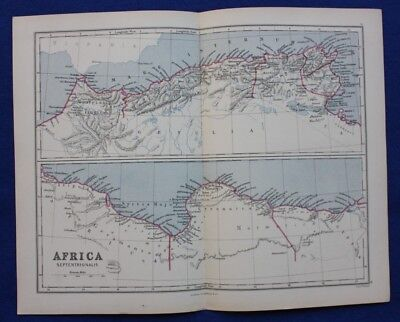 Original antique map NORTH AFRICA, 'AFRICA SEPTENTRIONALIS', Edward Weller, 1877