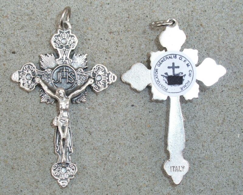 St Padre Pio relic cross crucifix with prayer card! Very ornate and beautiful!