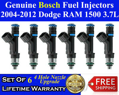 4 Hole Set of 6 Genuine Bosch Fuel Injectors For 2004-2012 Dodge RAM 1500 3.7L