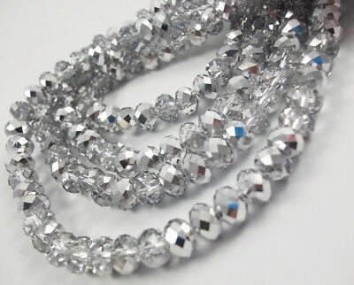 Glass Rondelle Faceted Silver Crystal Clear Loose Beads spacer 3 4 6 8 (Clear Faceted Crystal Bead)