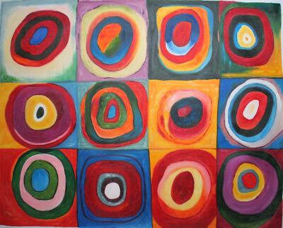 handgemalte Reproduktion d. Ölgemäldes, Kandinsky,Farbestudie Quadrate, 80x100cm