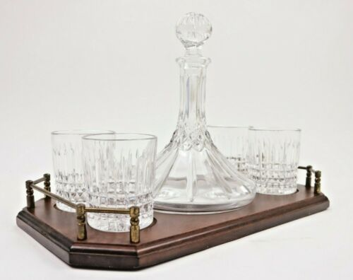 Vintage Crystal Ships Captain Decanter Wood Tray 4 Old Fashioned Glasses Bar Set