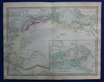 AFRICA  ANTIQUA, NORTH AFRICA, ROME, CARTHAGE, original antique map, Butler 1861