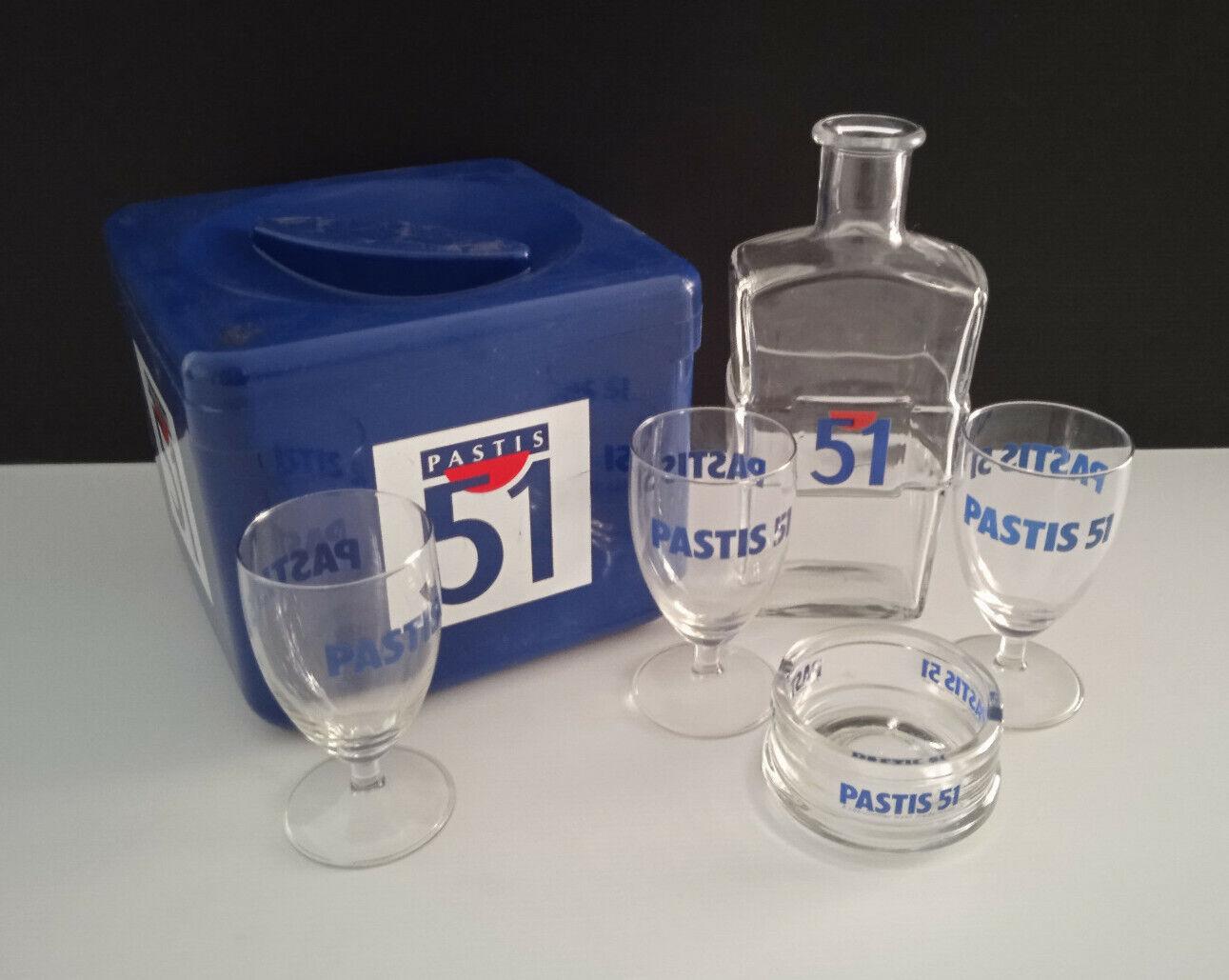Lot 3 verres pastis 51 + 1 carafe et 1 cendrier en verre + bac à glaçons bistrot