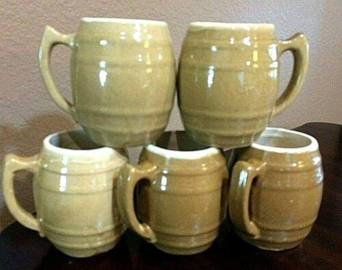 UHL Pottery Stoneware Huntingburg Indiana ~ Vintage Barrel Shape #16 Mugs  (5)