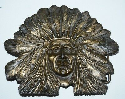 Nice Vintage Large Indian Chief Biker Solid Brass Tone Heavy Belt Buckle Rare