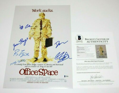 OFFICE SPACE CAST SIGNED MOVIE POSTER BECKETT COA MIKE JUDGE RON LIVINGSTON x6