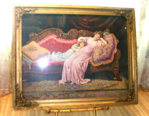 VINTAGE VICTORIAN PICTURE IN GOLD GILT FRAME FAINTING COUCH LADY LITTTLE GIRL