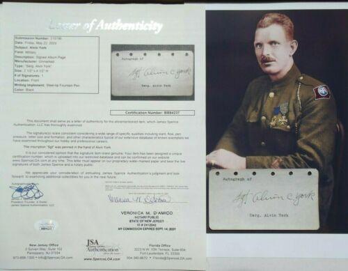 Alvin C. York World War I Medal Honor Recipient Hero Autograph JSA Authenticated