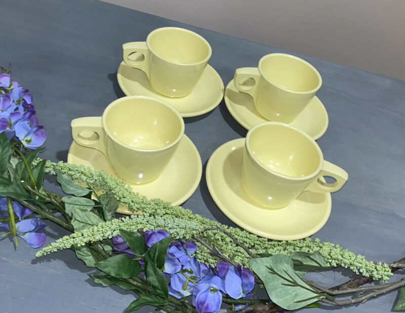 Boonton Ware Coffee Cups Mugs & Saucers Vtg. Melamine Melmac 6206 Yellow 4 Sets