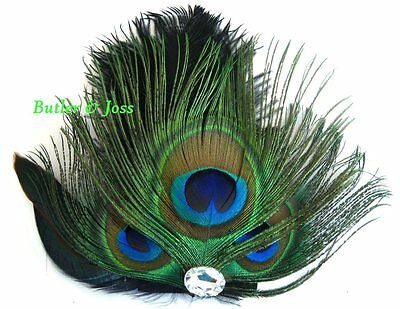New Peacock Diamante Feather Hair Clip Fascinator Handmade in UK 'Queen'
