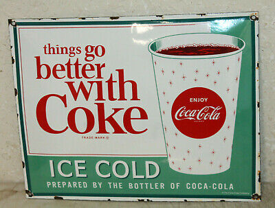 Ice Cold Coca Cola Signs Vintage Style Porcelain Signs Country Store Gas Station