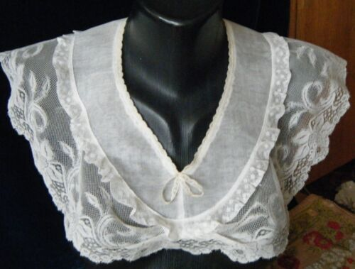 Antique Bertha Collar combo Bath Brussels lace organza fabric Val laces H made