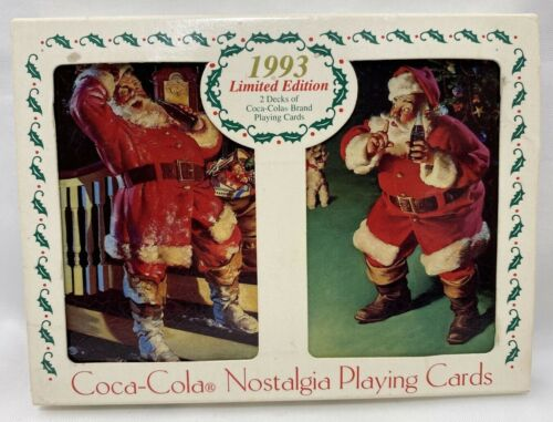 Coca-Cola Santa Nostalgia Playing Cards 2 Decks 1993 Limited Edition Made in USA