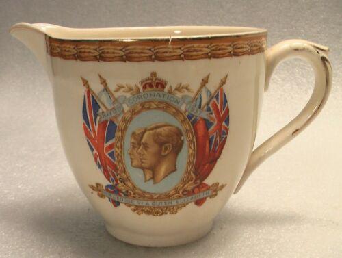 1939 KING GEORGE QUEEN ELIZABETH CORONATION CREAMER PORCELAIN ENGLAND SOUVENIR