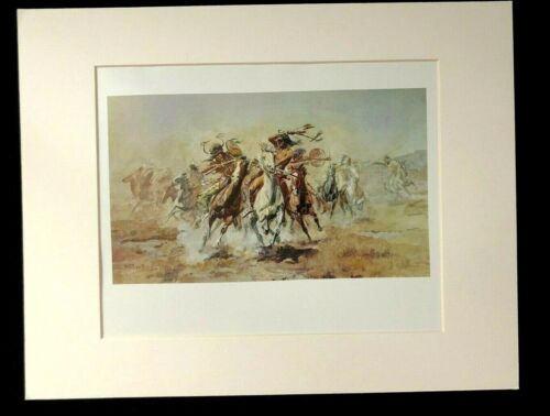 """Charles M Russell """"When Sioux and Blackfeet Meet"""" 11 X 14 Matted Western Print"""