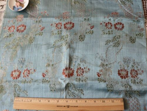 """Antique 18thC French Sky Blue Floral & Lace Silk Brocade Fabric c1770~34""""X18.5"""""""