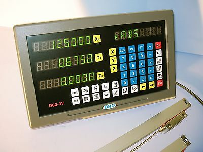 Digital Readout Dro Kit For 9x48 Bridgeport Mill W Glass Scales 2 Axis New