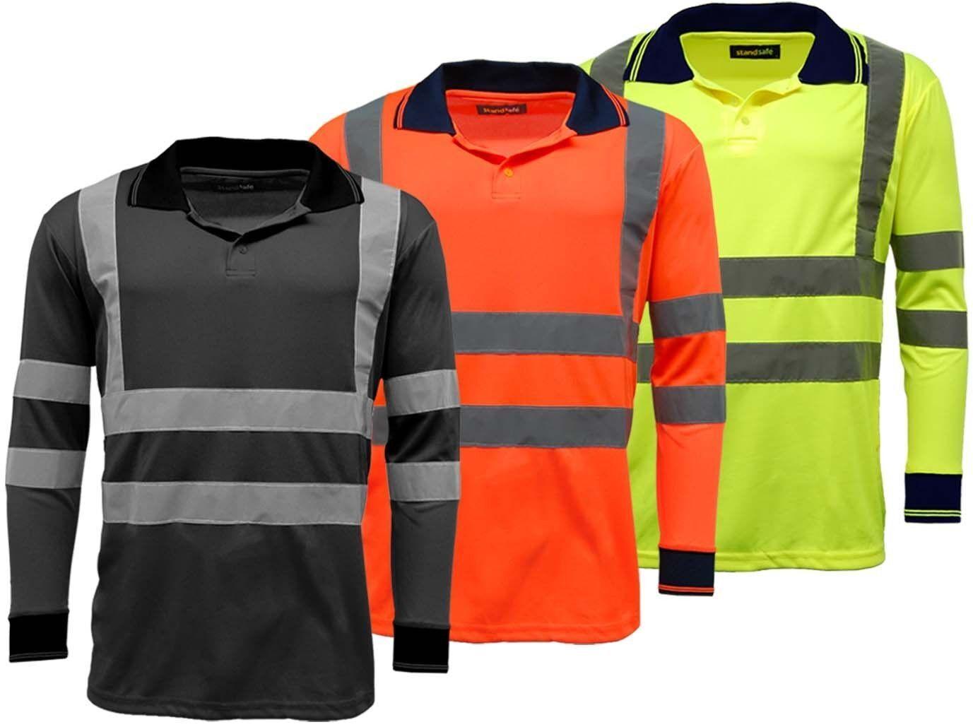 Men 39 S Polo Shirts Hi Vis High Viz Visibility Long Sleeve