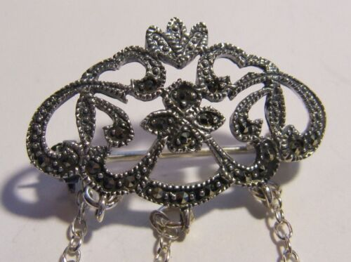 MARCASITE FILIGREE  STERLING SILVER CHATELAINE PIN - NEW